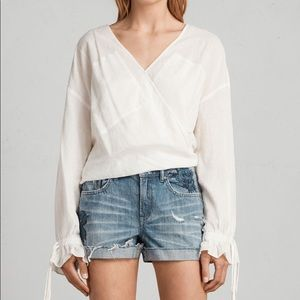 All Saints Pam Rose Embroidered Cutoff Shorts
